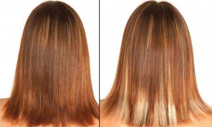 мелирование рыжих волос до и после