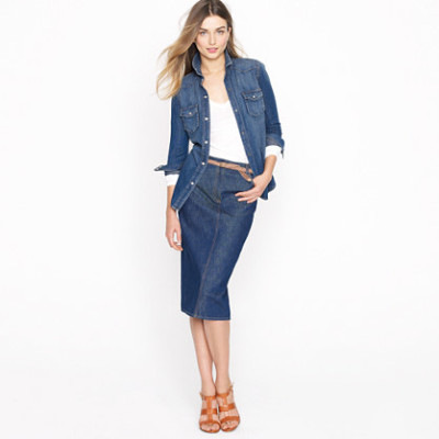 denim-jacket-with-a-pencil-skirt