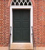 Old Green Door with Arched Transom