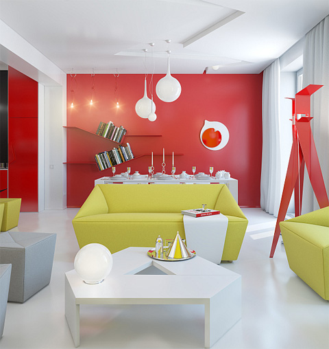 living-room-couches-red-walls-and-green