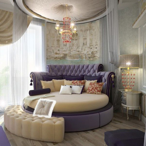 purple-and-purple-round-beds