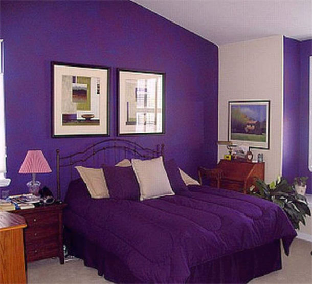 bedroom-with-purple-colored-interior