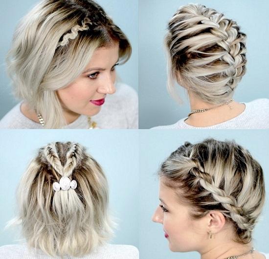 французская коса на короткие волосы