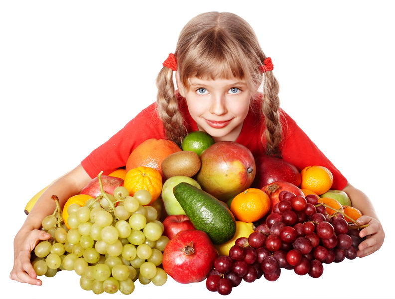 Child girl with group of vegetable and fruit.